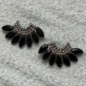 Jet Black Swan stone earrings with rhinestones